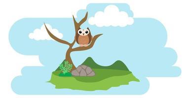 gufo vettore simpatici animali in stile cartone animato, animale selvatico, disegni per vestiti per bambini. personaggi disegnati a mano