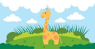 giraffa vettore simpatici animali in stile cartone animato, animale selvatico, disegni per vestiti per bambini. personaggi disegnati a mano