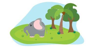 vettore di elefante simpatici animali in stile cartone animato, animali selvatici, disegni per vestiti per bambini. personaggi disegnati a mano