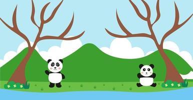 vettore di panda simpatici animali in stile cartone animato, animali selvatici, disegni per vestiti per bambini. personaggi disegnati a mano