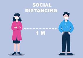 persone che indossano maschere e mantengono una distanza sociale minima di 1 metro per prevenire la malattia da coronavirus, illustrazione vettoriale