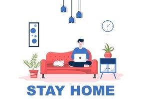 rimanere a casa per la quarantena o l'autoisolamento per ridurre il rischio di infezione per prevenire il coronavirus. illustrazione vettoriale