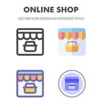 icon pack del negozio online in diversi stili vettore