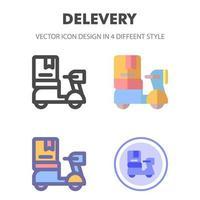 icon pack di scooter di consegna in diversi stili vettore