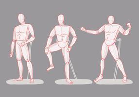 Illustrazione disegnata a mano di vettore di schizzo del manichino proposto azione