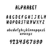 alfabeto, lettere e numeri del fumetto disegnato a mano su fondo bianco, illustrazione di vettore