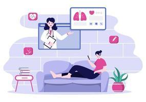 assistenza sanitaria online e concetto medico di illustrazione vettoriale medico, consulenza medica e trattamento tramite applicazione di smartphone o computer connesso a Internet clinica