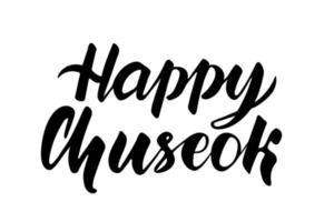 lettering chuseok. vacanza coreana. calligrafia in bianco e nero. illustrazione vettoriale isolato su sfondo bianco