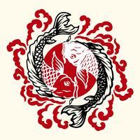 Tatuaggio giapponese di pesce vettore