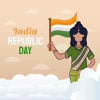 illustrazione disegnata a mano del giorno della repubblica indiana vettore