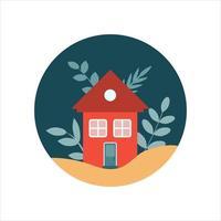 illustrazione vettoriale piatta di una casa con piante in un cerchio scuro su uno sfondo bianco