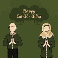 biglietti di auguri eid al-adha con persone musulmane disegnate a mano su sfondo verde. vettore