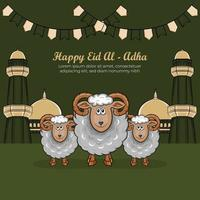 biglietti di auguri eid al-adha con pecore disegnate a mano su sfondo verde. vettore