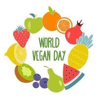 illustrazione vettoriale della giornata mondiale del vegetariano. scritte al centro di un cerchio di diversi frutti e bacche luminosi e succosi su uno sfondo bianco
