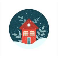 casa con piante in un cerchio con un cielo notturno in inverno con fiocchi di neve, illustrazione piatta vettoriale, icona vettore