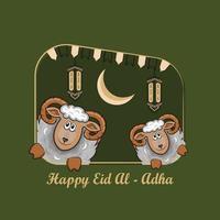 biglietti di auguri eid al-adha con pecore disegnate a mano e lanterne su sfondo verde. vettore