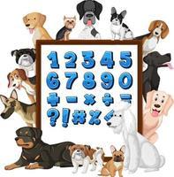 numero 1-10 e simboli matematici su una lavagna con molti diversi tipi di cani vettore