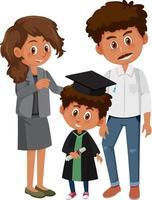 ragazzino felice in costume di laurea con i suoi genitori vettore
