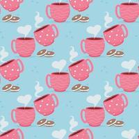 carta di San Valentino con tazze di caffè amaretto dessert. ti amo modello senza soluzione di continuità. vettore