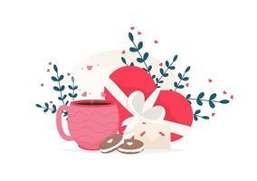 amore tazza di caffè, dessert amaretto e carta di dolci al cioccolato. ti amo carta. vettore