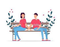 carta regalo per appuntamenti romantici di San Valentino. relazione degli amanti due persone. coppia seduta sulla panchina. coppia di innamorati. vettore