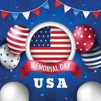 memorial day con palloncino e bandiera circolare vettore