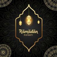 sfondo di disegno di Ramadan Kareem con lanterna per biglietto di auguri, voucher, modello di post sui social media per eventi islamici vettore