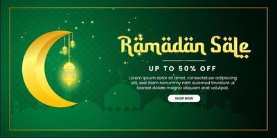 modello di banner di promozione vendita ramadan con falce di luna realistica e lanterna per biglietto di auguri, buono, poster, modello di banner per evento islamico vettore