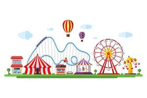 parco divertimenti con circo, giostre, montagne russe e attrazioni. luna park e paesaggio a tema carnevale. illustrazione isolata vettore di festival della ruota panoramica e della giostra