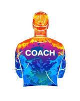 allenatore sportivo astratto sta con la schiena in una maglietta e un berretto da baseball. sfondo per lo sport o il tema dell'allenamento da schizzi di acquerelli. illustrazione vettoriale di vernici