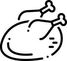 icona linea per pollo o tacchino vettore