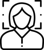 icona della linea per il riconoscimento del volto femminile vettore