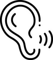 icona della linea per il riconoscimento dell'orecchio vettore