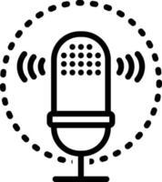 icona della linea per il riconoscimento vocale vettore