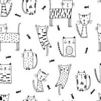 doodle gatti divertenti senza soluzione di continuità con il pesce. vettore
