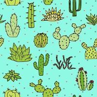 illustrazione senza giunte di scarabocchi di cactus e piante grasse. possono essere utilizzati elementi di design e tessuto. brillante modello giovanile con il cuore. vettore