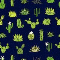 illustrazione senza giunte di scarabocchi di cactus e piante grasse. possono essere utilizzati elementi di design e tessuto. brillante modello giovanile con piante verdi e fiori bianchi. vettore