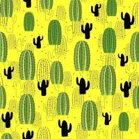 impostare illustrazione di cactus carino senza soluzione di continuità. modello tropicale di diversi cactus, aloe e fiori. stampa per tessuto, custodia del telefono e carta da imballaggio. vettore