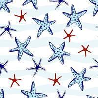 stelle marine disegnate a mano senza soluzione di continuità. conchiglia di illustrazione marina. stampa per tessuto, carta da parati, carta da imballaggio, tessuto, biancheria da letto, t-shirt. vettore