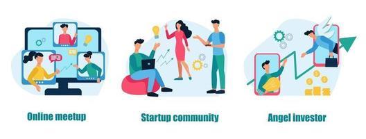 una serie di concetti e metafore aziendali. meetup online, community di startup, angel investor. lavoro di squadra, sviluppo del business. illustrazione vettoriale di cartone animato piatto.