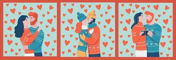 un set di carte e modelli per San Valentino. la coppia si abbraccia. giovani innamorati. un uomo e una donna sullo sfondo dei cuori. illustrazione vettoriale di cartone animato piatto.
