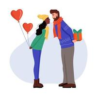 un giovane uomo e una donna in abiti invernali con palloncini e regali in mano. una coppia innamorata si sta baciando. illustrazione vettoriale di cartone animato piatto. San Valentino