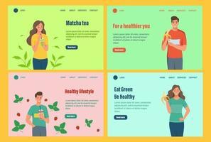 modello di vettore della pagina di destinazione. un insieme di personaggi di uno stile di vita sano. giovani uomini e donne mangiano frutta e bevono frullati. illustrazione vettoriale di cartone animato piatto.