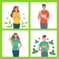 un insieme di personaggi di uno stile di vita sano. giovani uomini e donne mangiano frutta e bevono frullati. illustrazione vettoriale di cartone animato piatto.