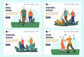 set di pagine di destinazione per anziani. i pensionati corrono, camminano, ballano, camminano nel parco. modello, banner. illustrazione vettoriale piatta