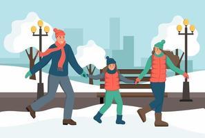passeggiate con la famiglia nel parco invernale. divertimento invernale, attività all'aria aperta. illustrazione vettoriale piatta.