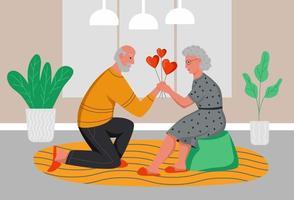 un uomo anziano regala a una donna anziana palloncini cuori. gli anziani celebrano il giorno di San Valentino a casa. illustrazione vettoriale di cartone animato piatto.