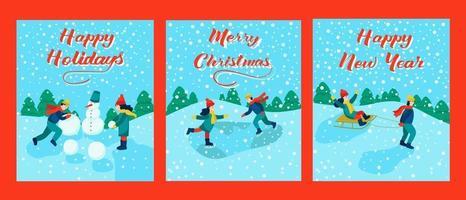 set di cartoline. lettering buon natale, felice anno nuovo, buone vacanze. i bambini vanno in slittino, pattinano, fanno un pupazzo di neve. illustrazione vettoriale. vettore