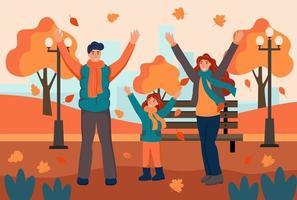 passeggiate con la famiglia nel parco in autunno. papà, mamma e figlia si divertono e lanciano foglie. illustrazione vettoriale di cartone animato piatto.