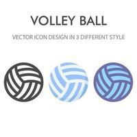 pacchetto di icone di pallavolo isolato su priorità bassa bianca. per il design del tuo sito web, logo, app, ui. illustrazione grafica vettoriale e tratto modificabile. eps 10.